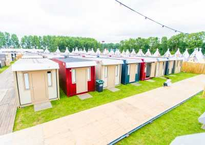 Pop up hotel at festival camping