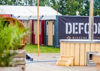 Flexotel with Defqon logo at festival camping